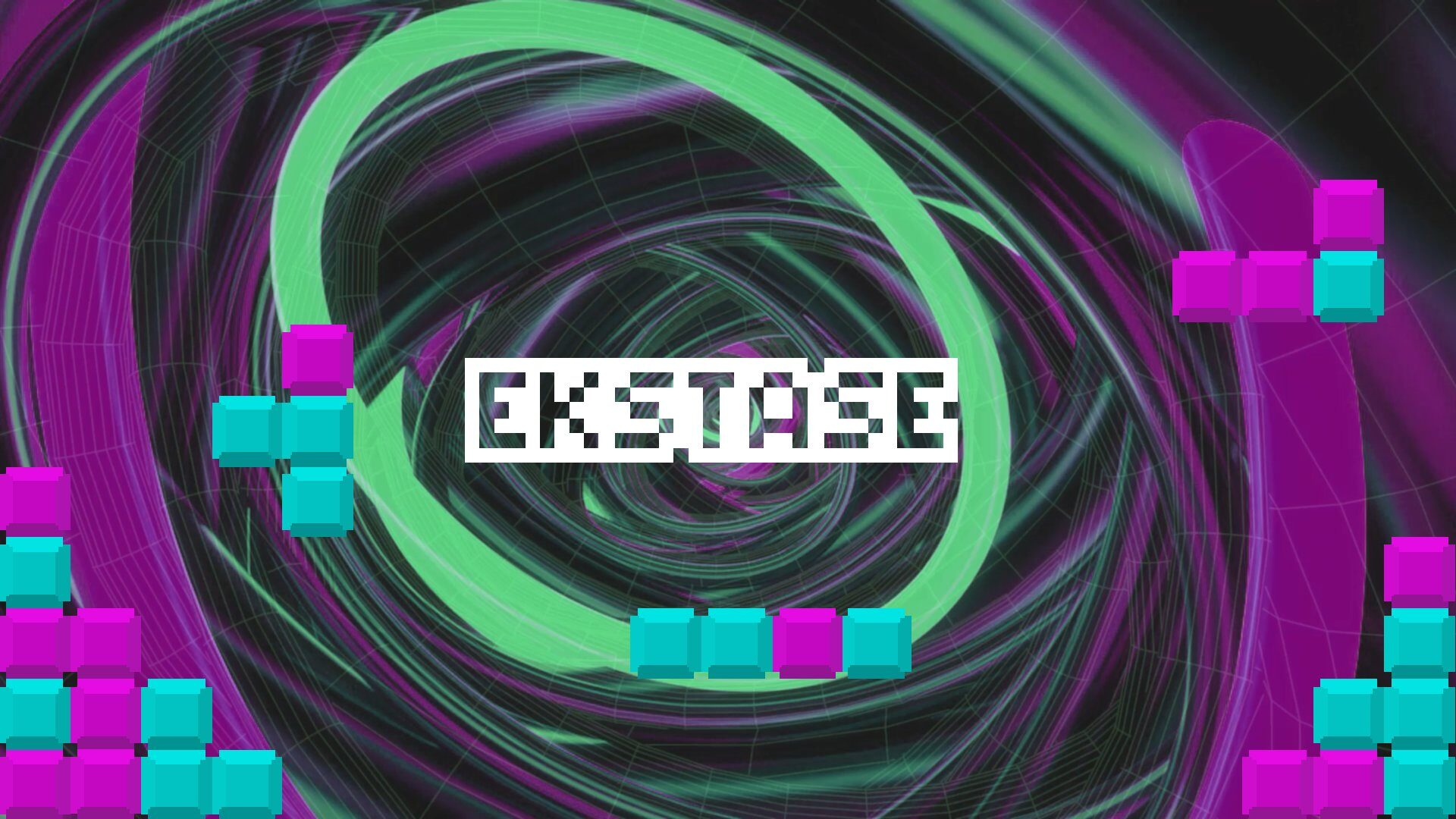 Blocks of blue and magenta color surrounding the word Ekstase