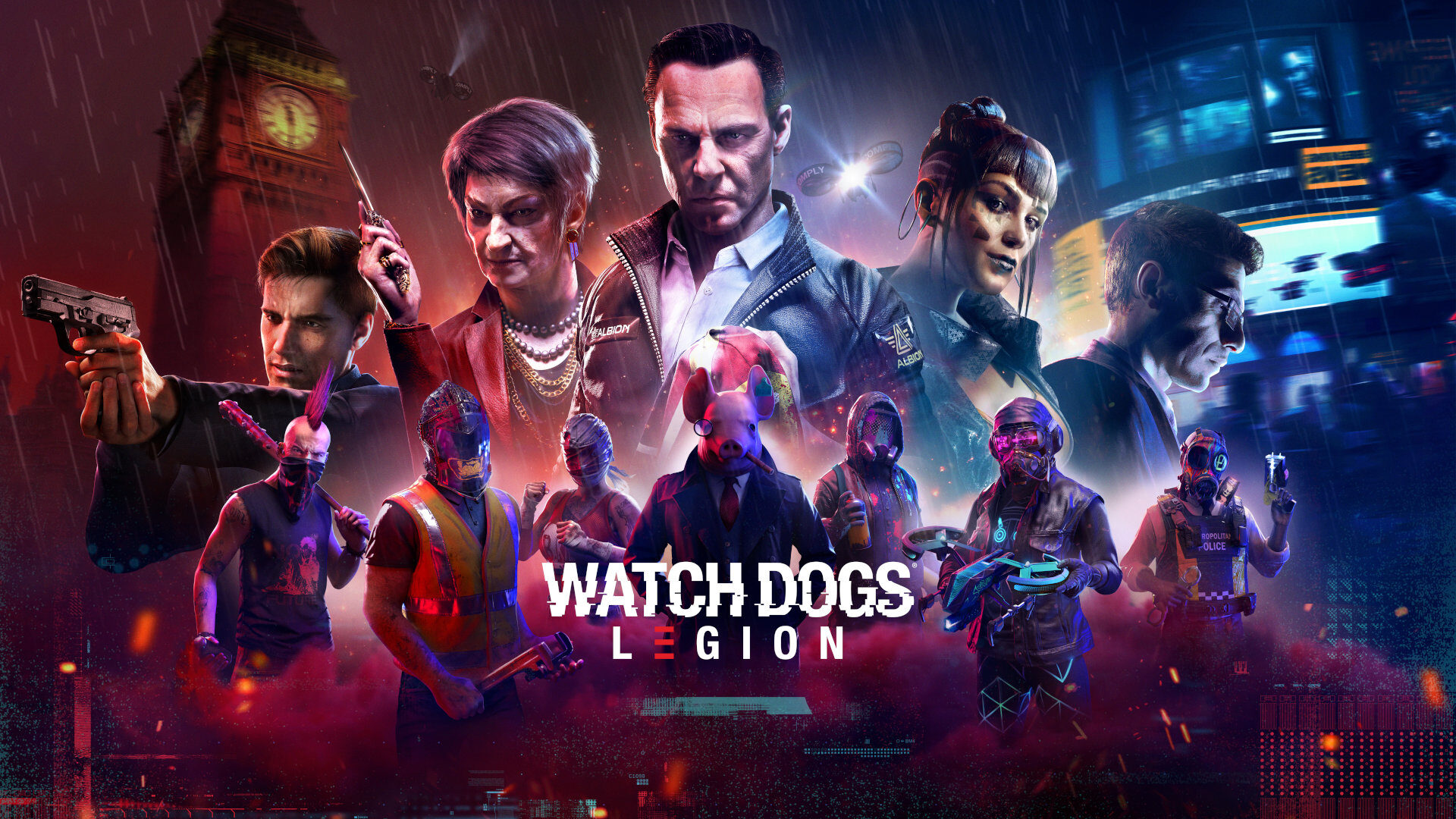 A threatening man with a gun, a woman with an evil grin, a stern looking middle-aged man, a moder emo-gothic lwoman smiling and a thoughtful man with glasses. Below a varied group of hackers with drones, fighters with clenched fists and a person at the center with a pig mask.
