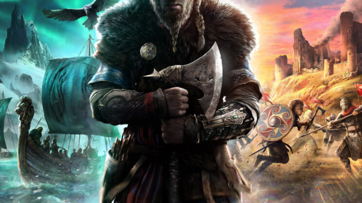 A man in the center wearing viking amor with furs and a long beard, holding an axe. To his left, a blue setting of viking ships sailing into battle and to his right, a red setting of vikings fights british soliders.