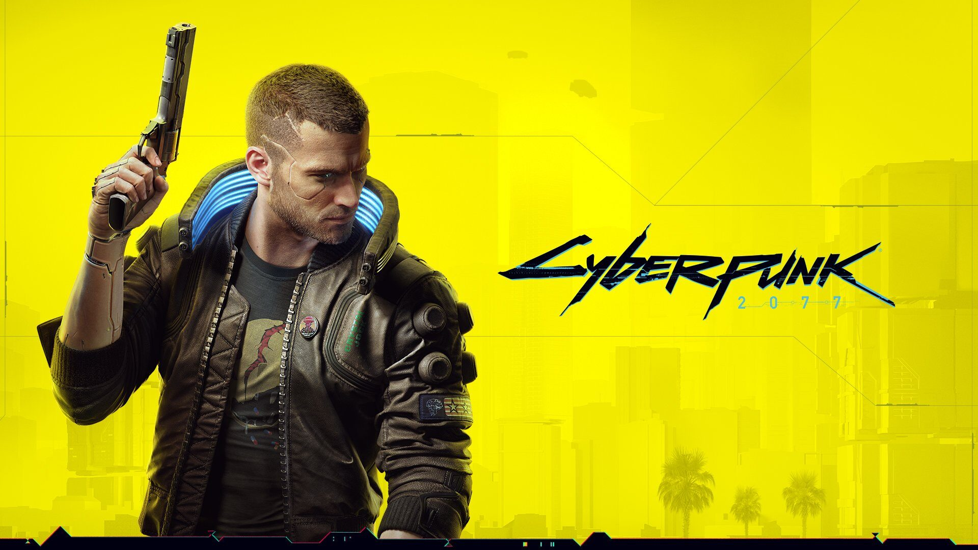 A yellow wallpaper with futuristic text that says Cyberpunk. A cyborg looking man is looking off to the side, holding a futuristic pistol and wearing combat clothing, while also rocking an awesome shaved hairstyle. He is epic. He is the future.