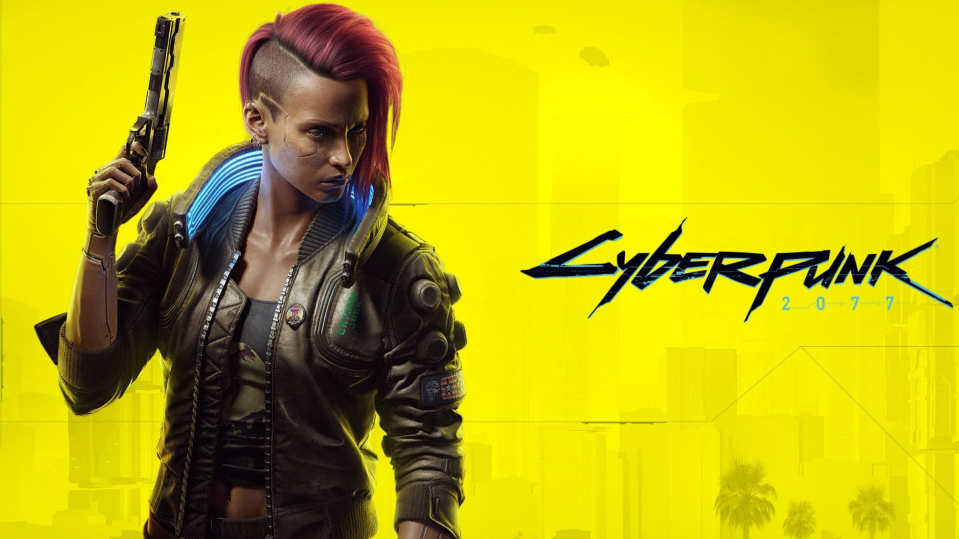 A yellow wallpaper with futuristic text that says Cyberpunk. A cyborg looking woman is looking off to the side, holding a futuristic pistol and wearing combat clothing, while also rocking an awesome half-shaved pink hairstyle. She is epic. She is the future.